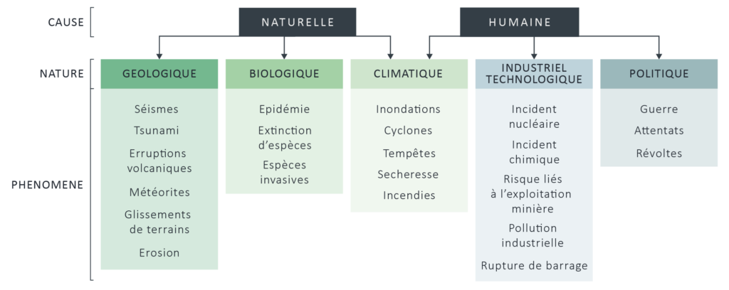 Synthèse des différents types de désastres